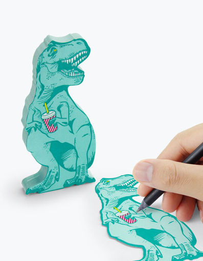 Picture of Mustard -T-Rex Shaped Sticky Notes